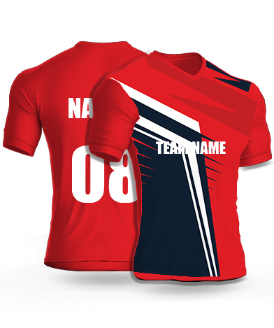 Red horns - Cricket Jersey or Sports T shirt with your name and number