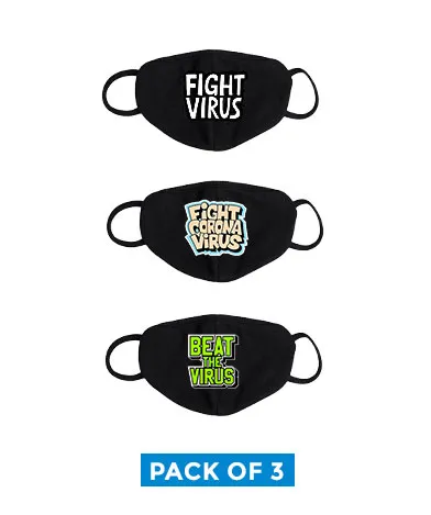 printed cotton mask pack of fight virus pack of 3