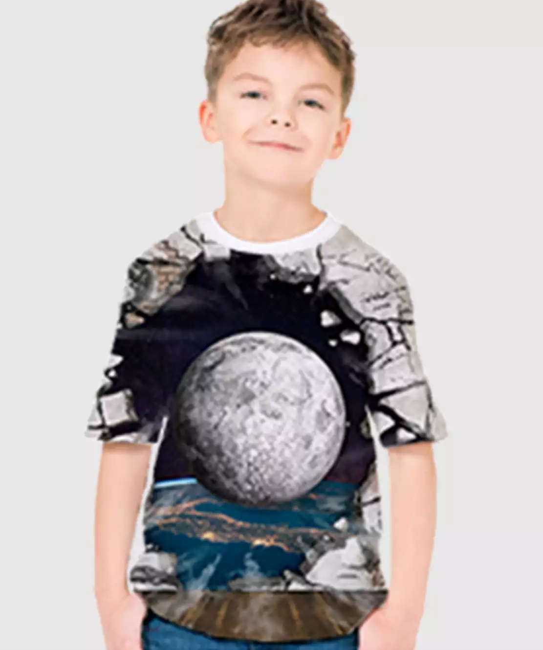 Boys Round Neck Half Printed 3D Ball T-Shirt