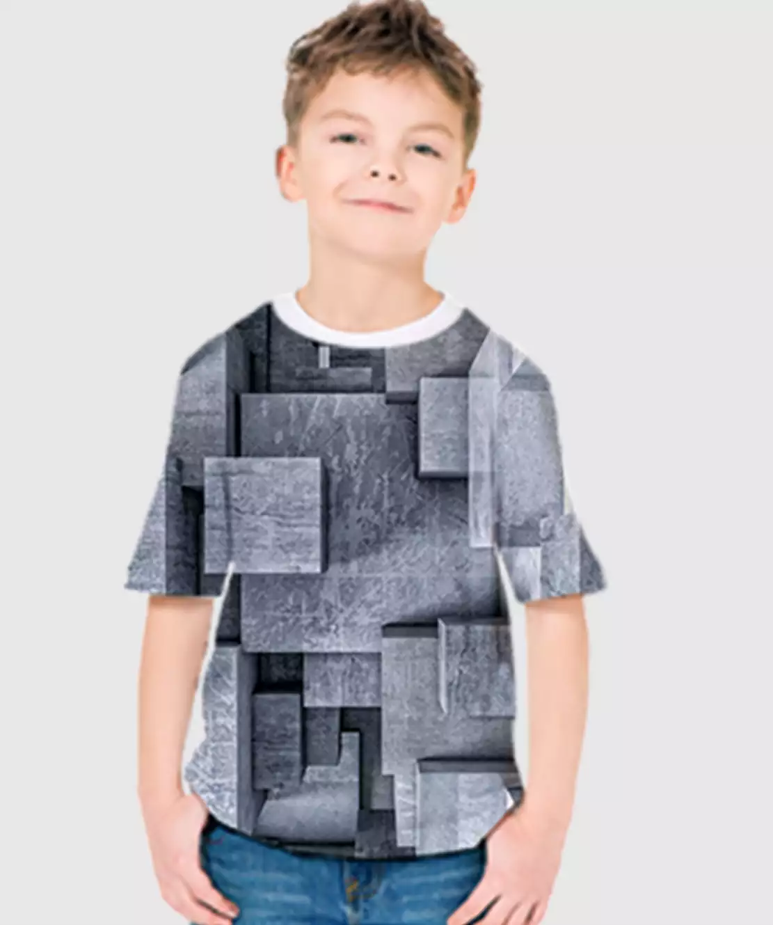 Boys Round Neck Half Printed 3D Blocks T-Shirt