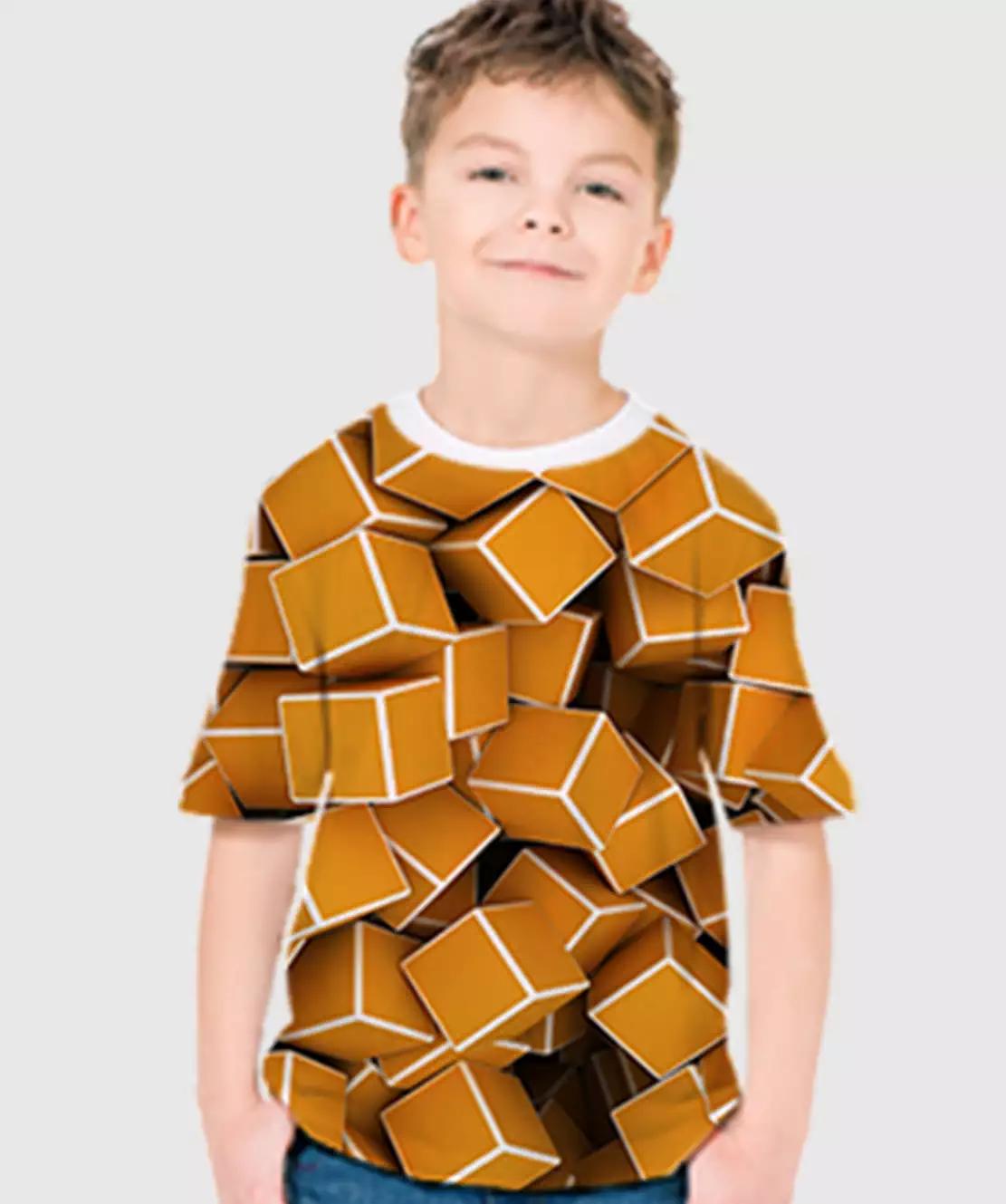 Boys Round Neck Half Printed 3D Cubes T-Shirt