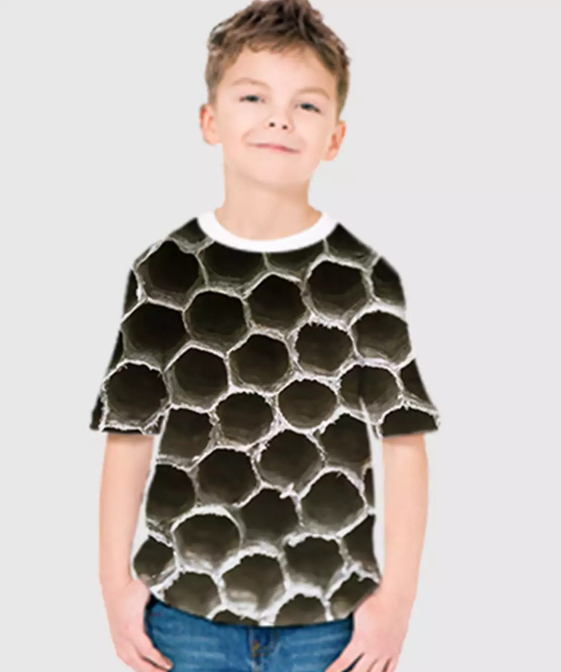 Boys Round Neck Half Printed 3D Holes T-Shirt