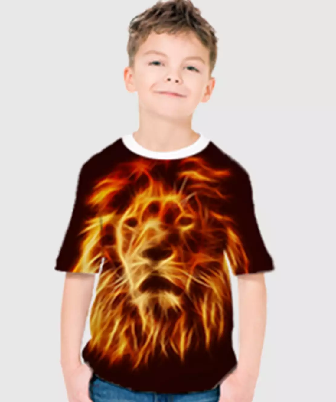 Boys Round Neck Half Printed 3D Lion T-Shirt