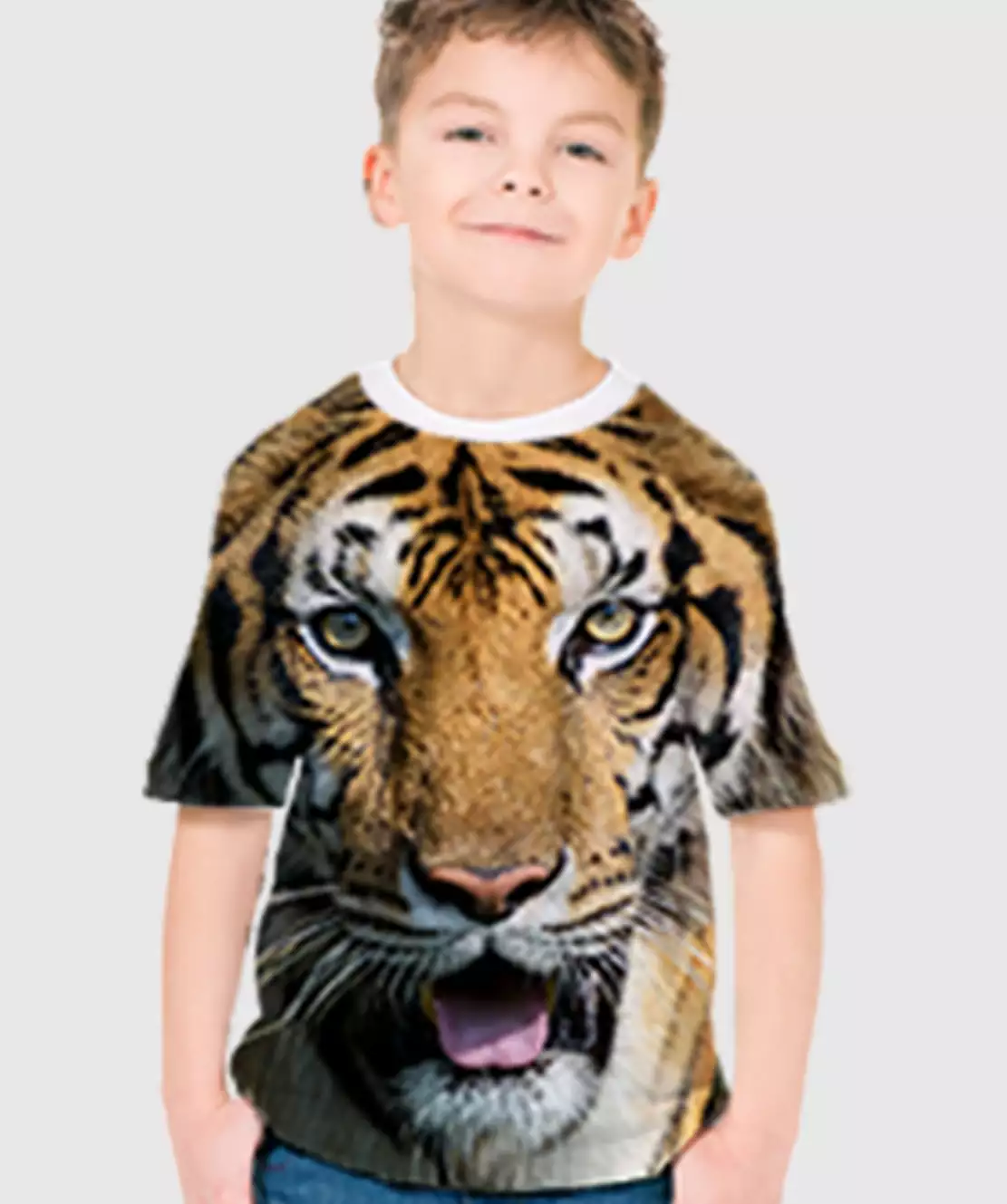 Boys Round Neck Half Printed 3D Tiger T-Shirt
