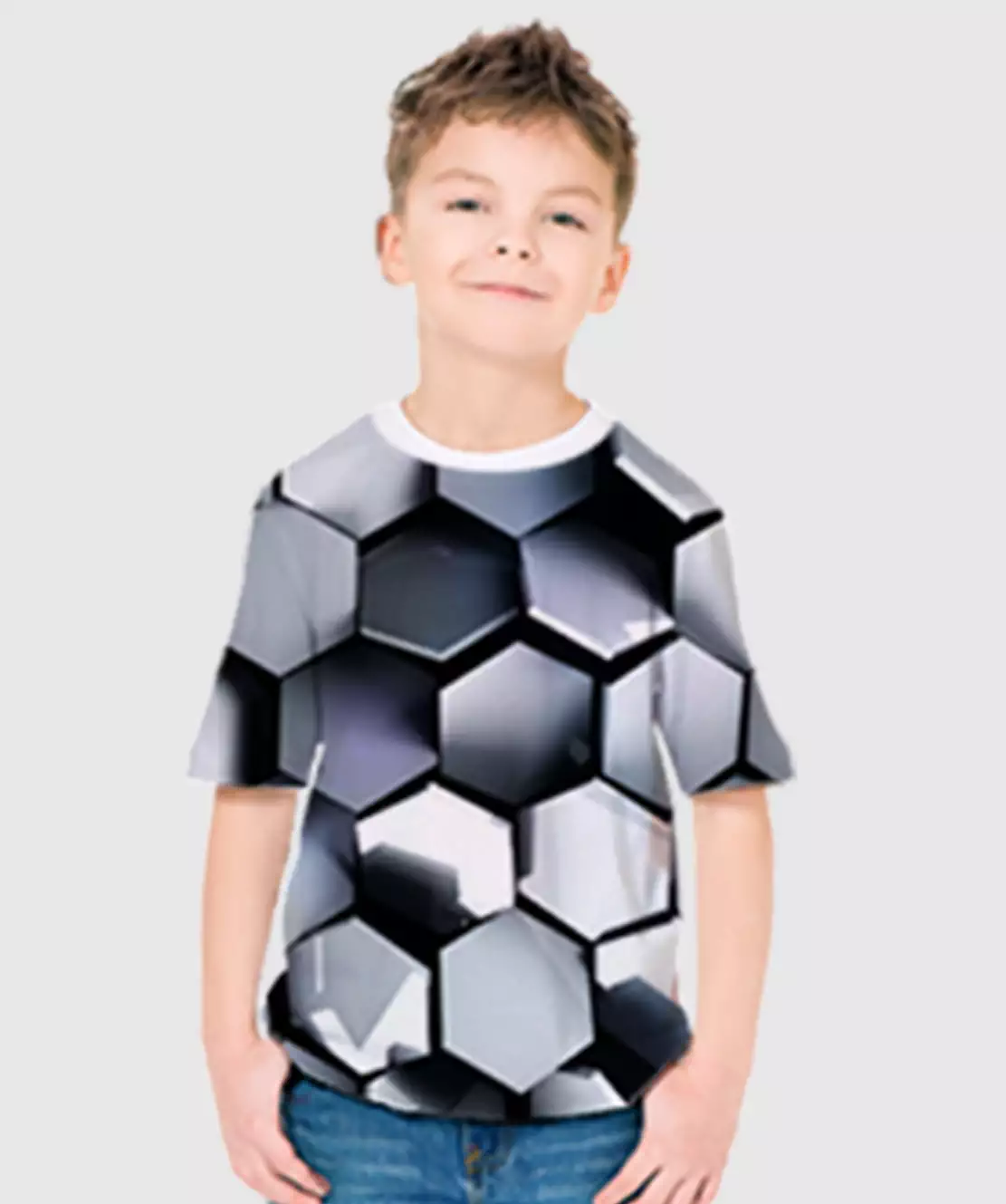 Boys Round Neck Half Printed 3D Hexagon T-Shirt