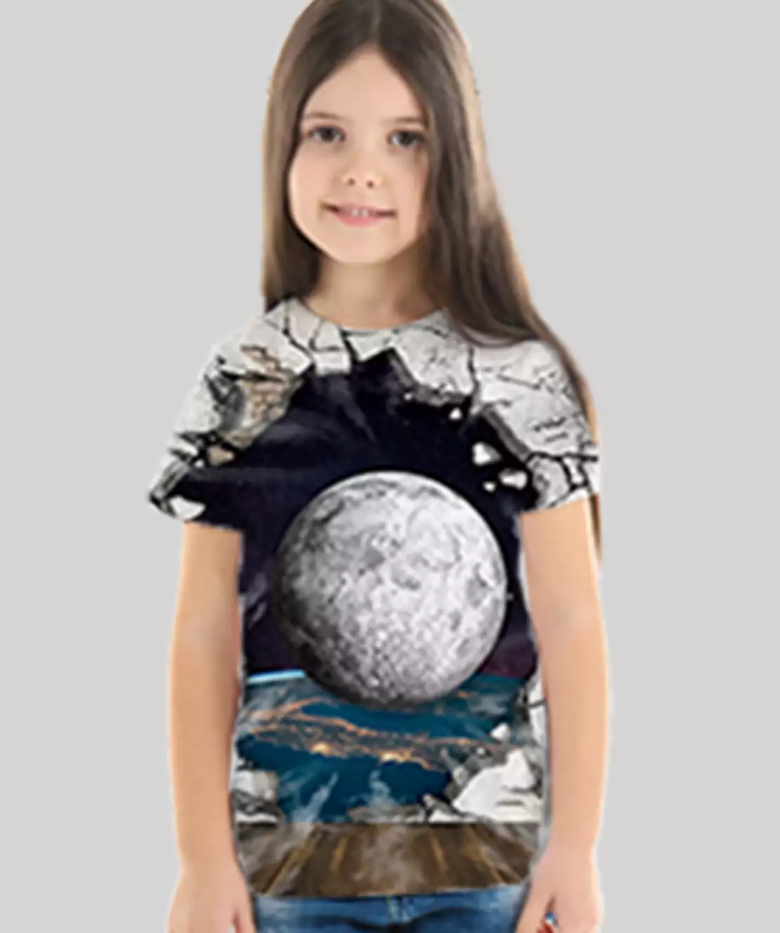Girl Round Neck Half Printed 3D Ball T-Shirt