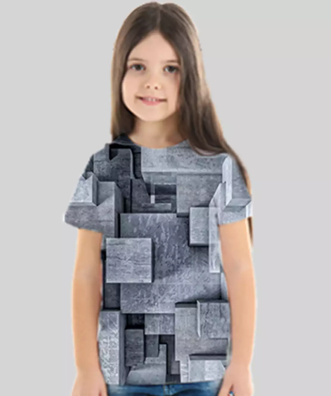Girl Round Neck Half Printed 3D Blocks T-Shirt