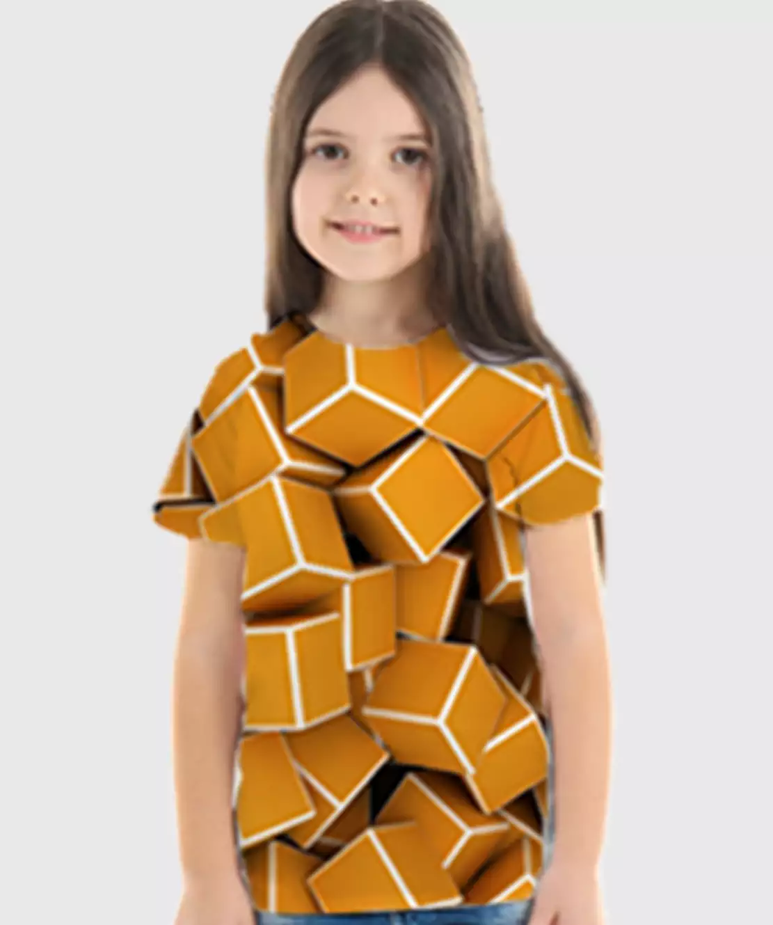 Girl Round Neck Half Printed 3D Cubes T-Shirt