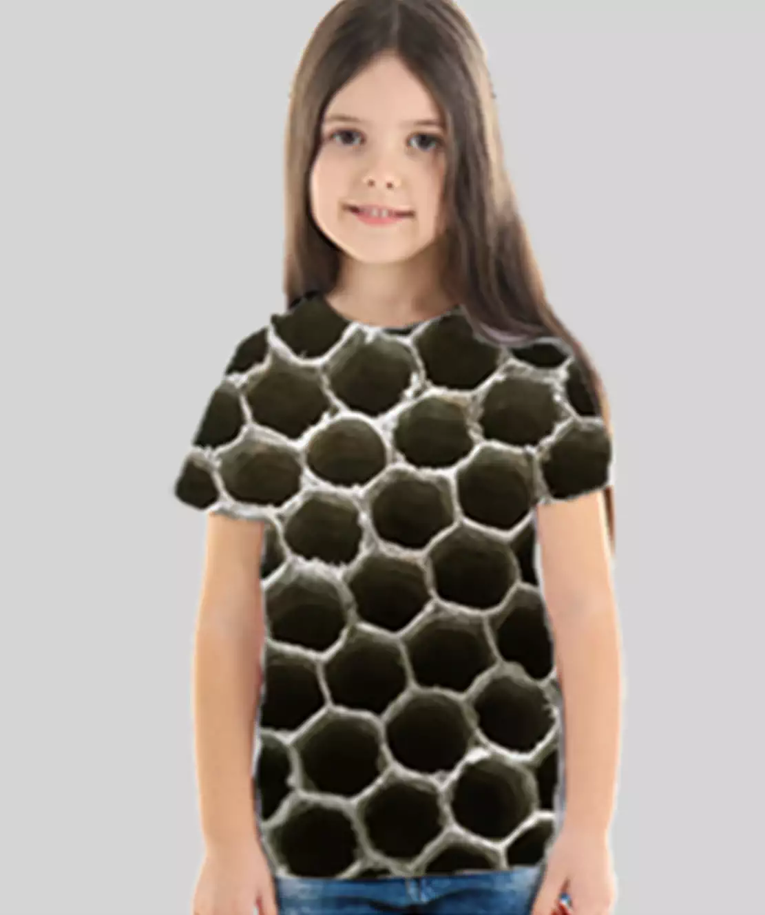 Girl Round Neck Half Printed 3D Holes T-Shirt