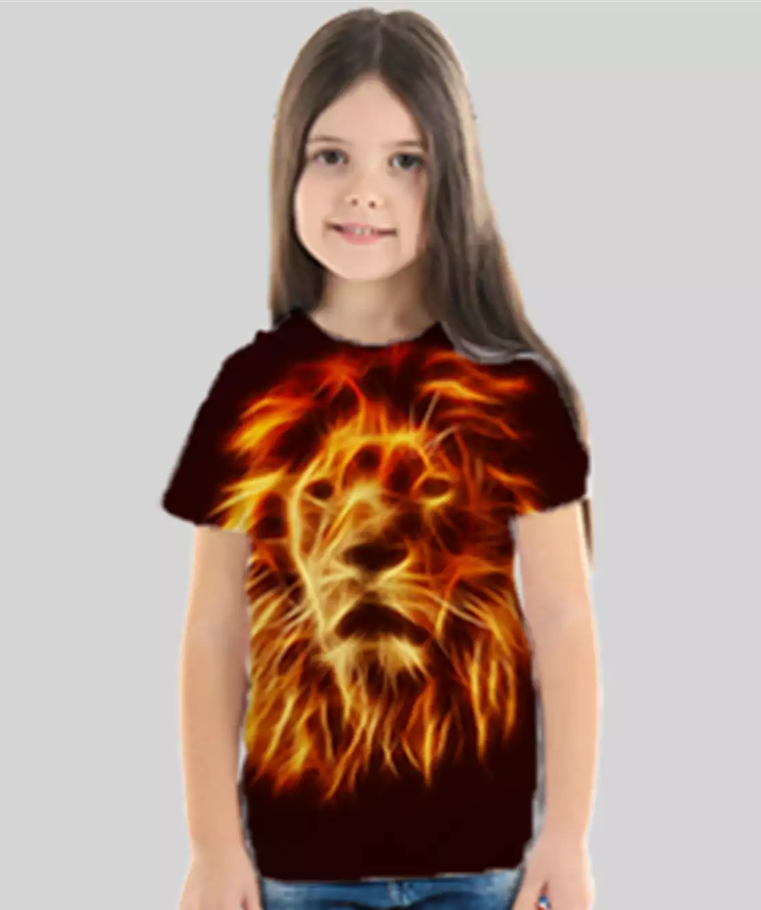 Girl Round Neck Half Printed 3D Lion T-Shirt