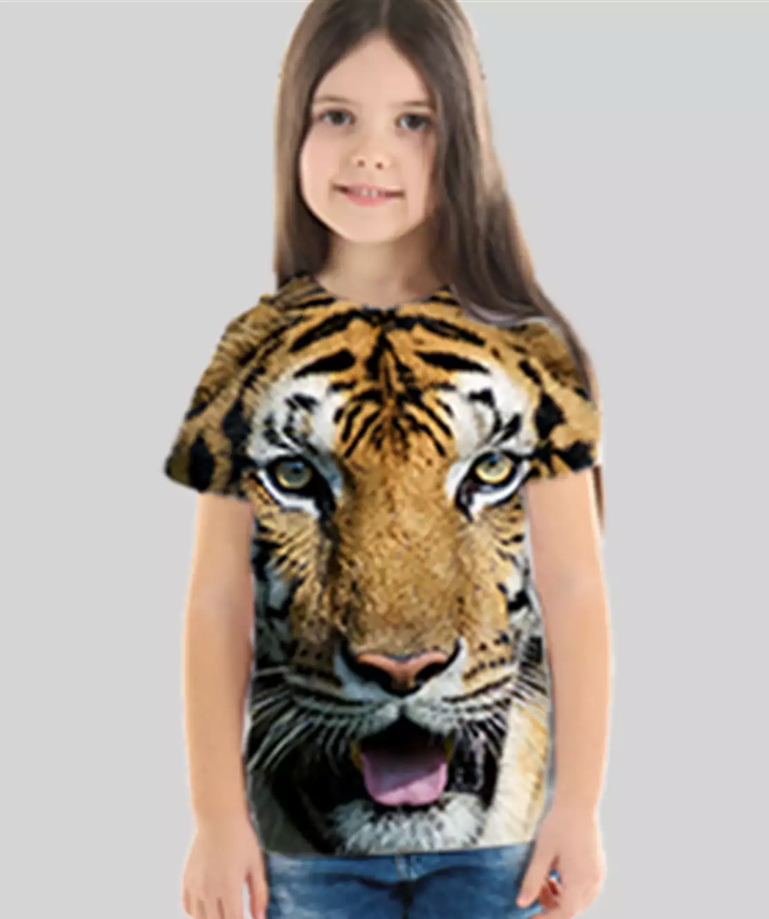 Girl Round Neck Half Printed 3D Tiger T-Shirt