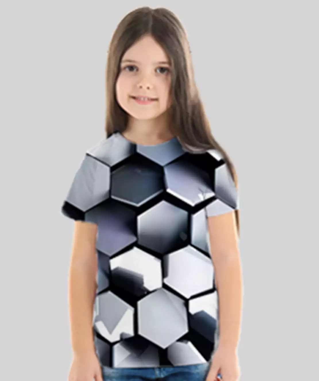 Girl Round Neck Half Printed 3D Hexagon T-Shirt