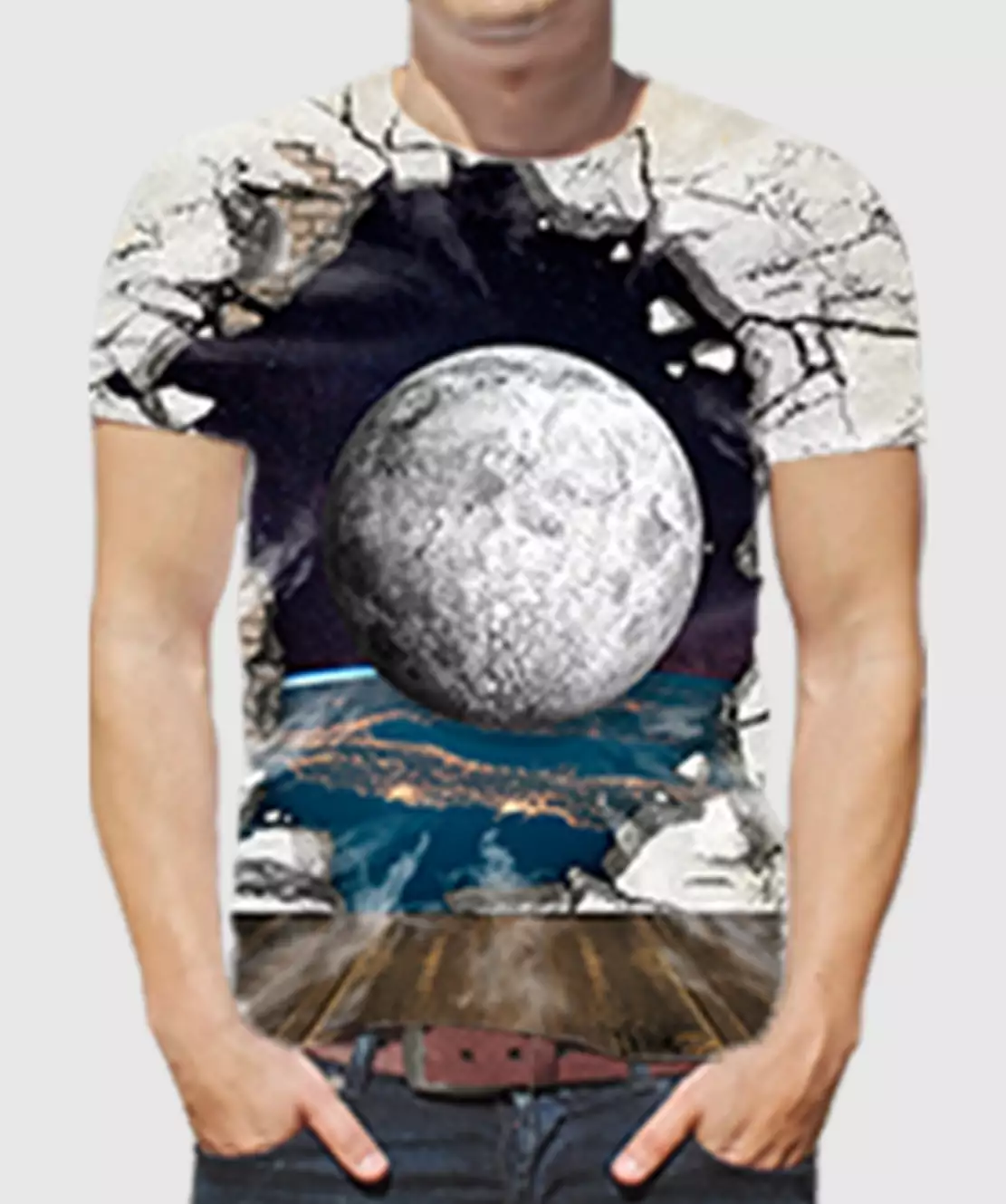 Men Round Neck Half Printed 3D Ball T-Shirt
