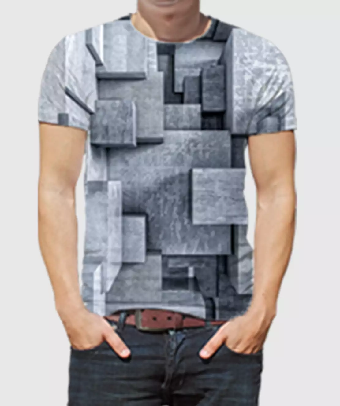 Men Round Neck Half Printed 3D Blocks T-Shirt