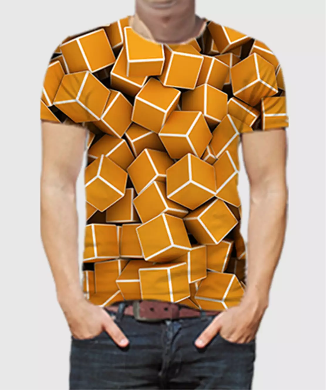 Men Round Neck Half Printed 3D Cubes T-Shirt