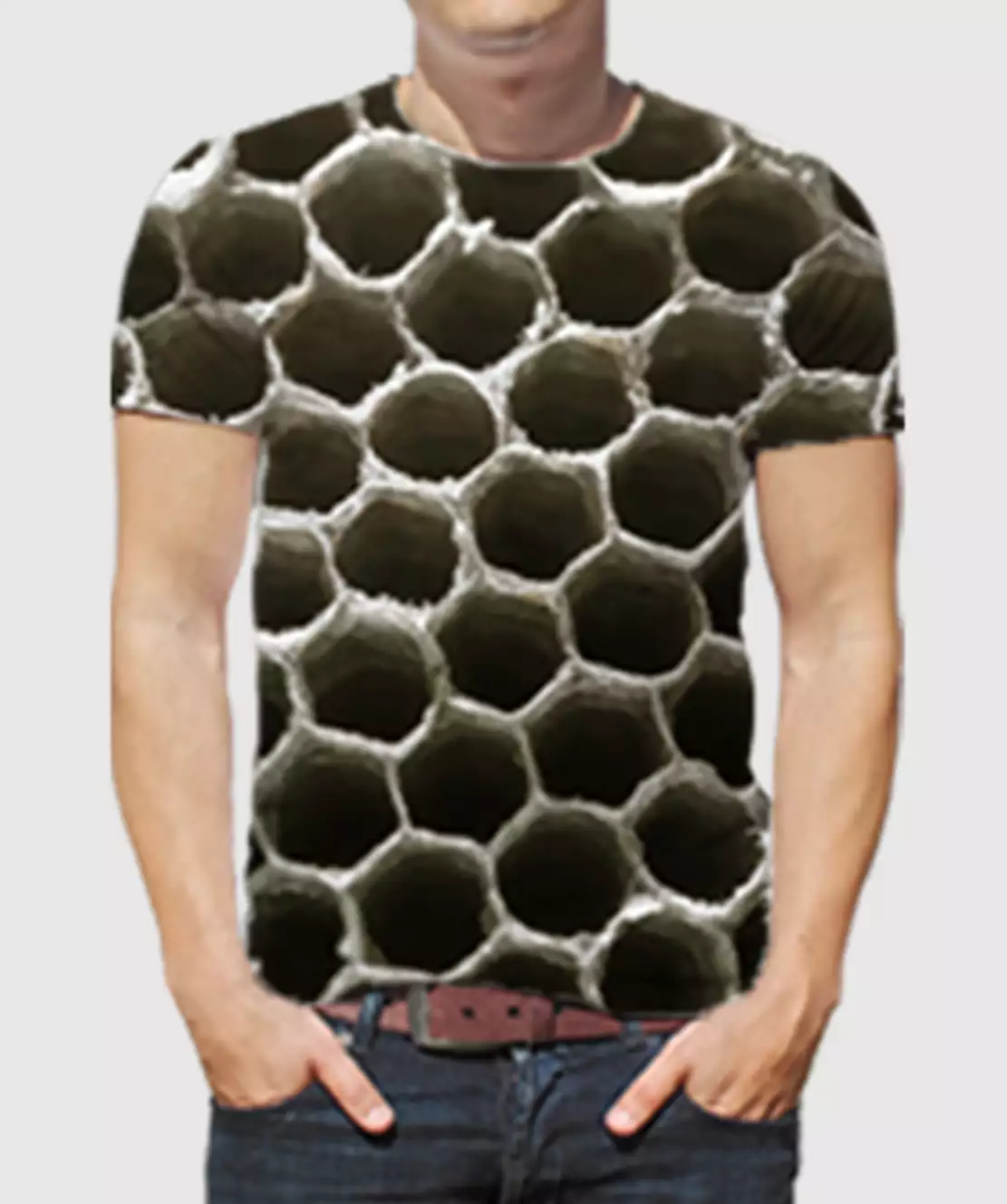 Men Round Neck Half Printed 3D Holes T-Shirt