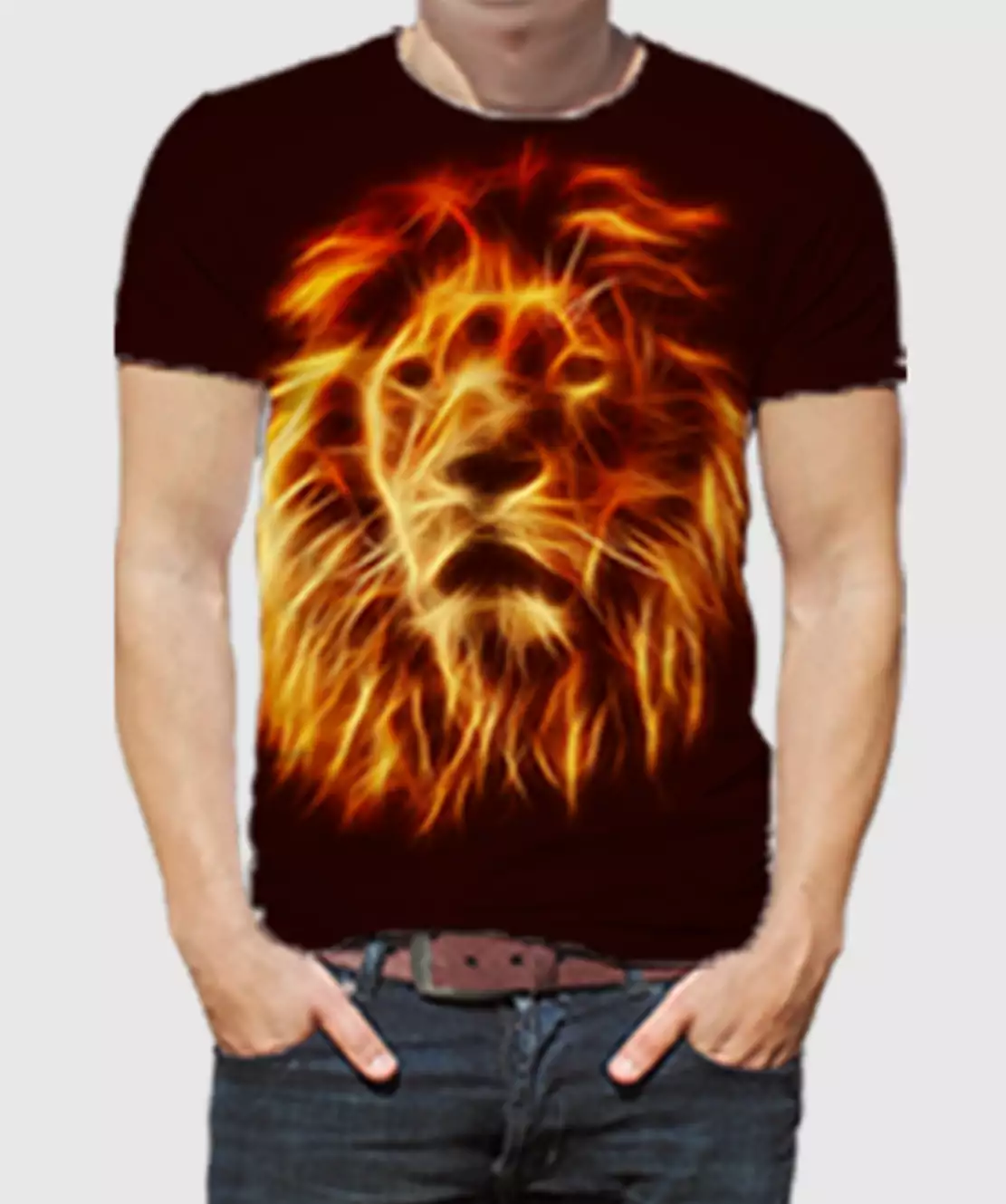 Men Round Neck Half Printed 3D Lion T-Shirt