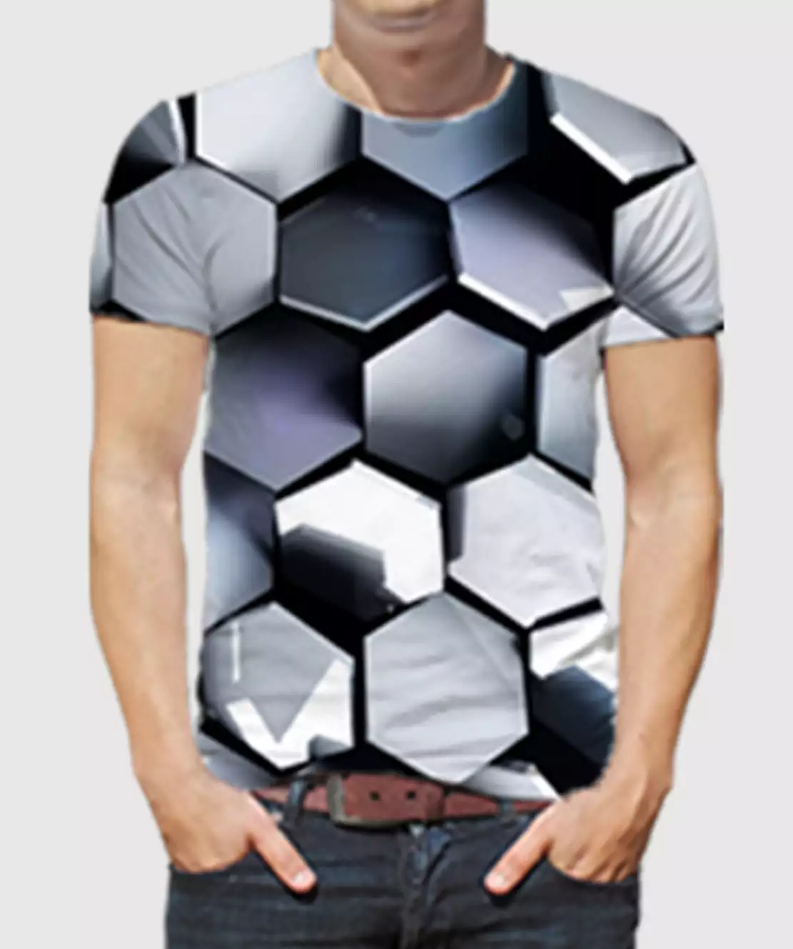 Men Round Neck Half Printed 3D Hexagon T-Shirt