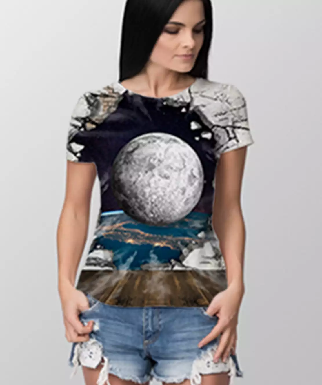 Women Round Neck Half Printed 3D Ball T-Shirt