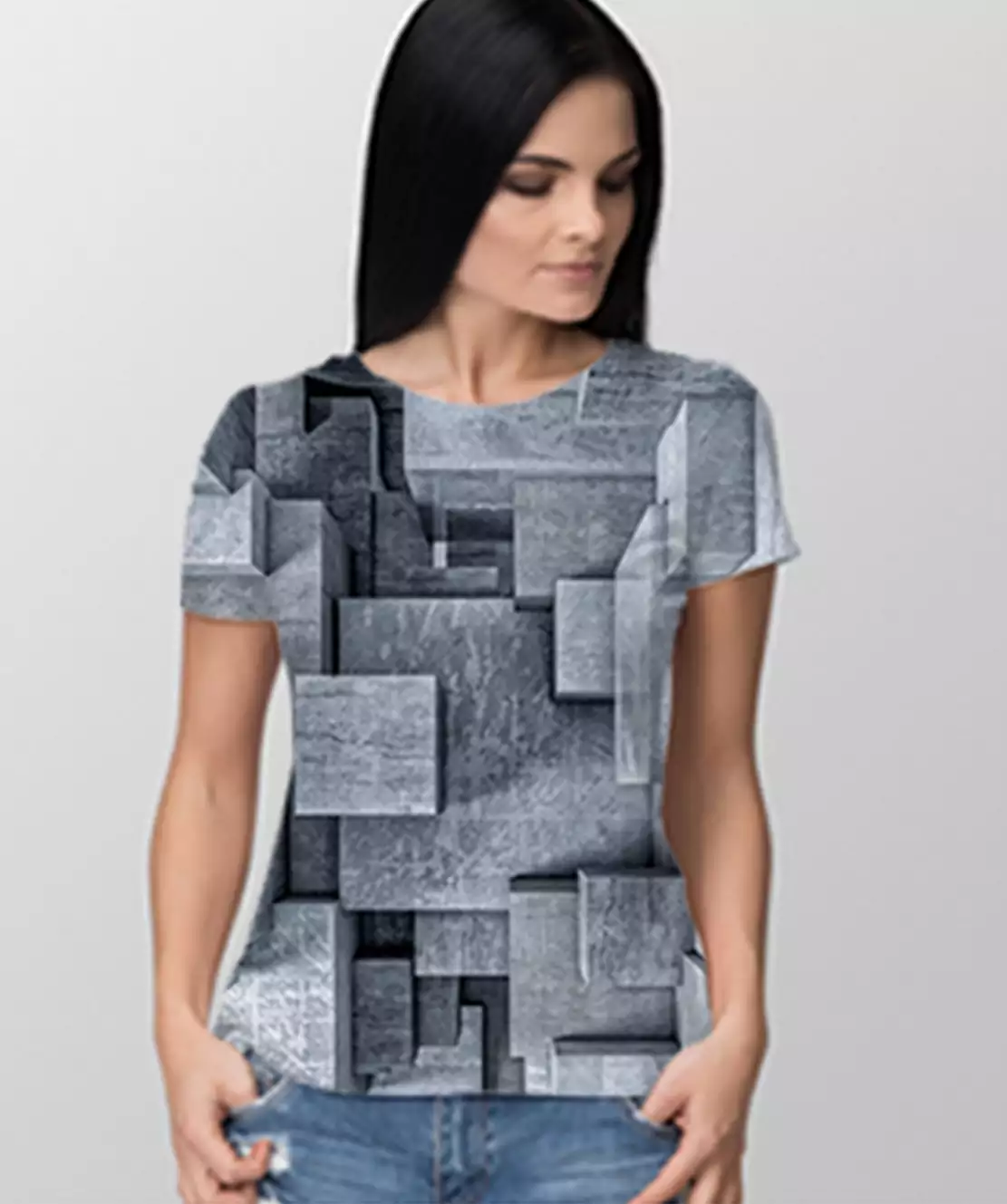 Women Round Neck Half Printed 3D Blocks T-Shirt