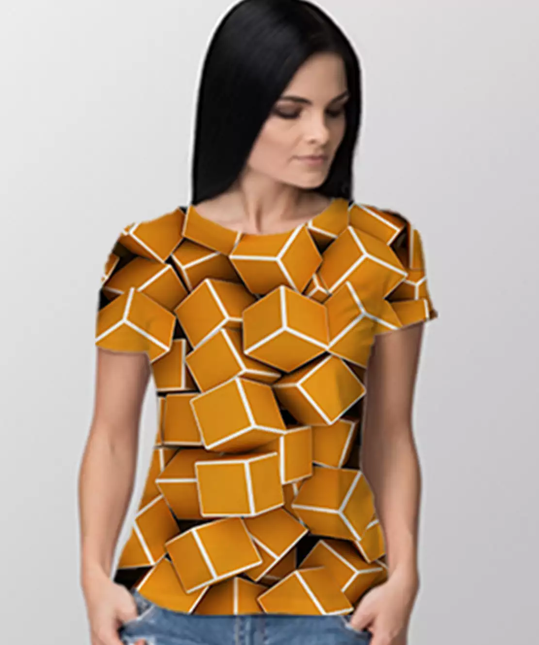 Women Round Neck Half Printed 3D Cubes T-Shirt