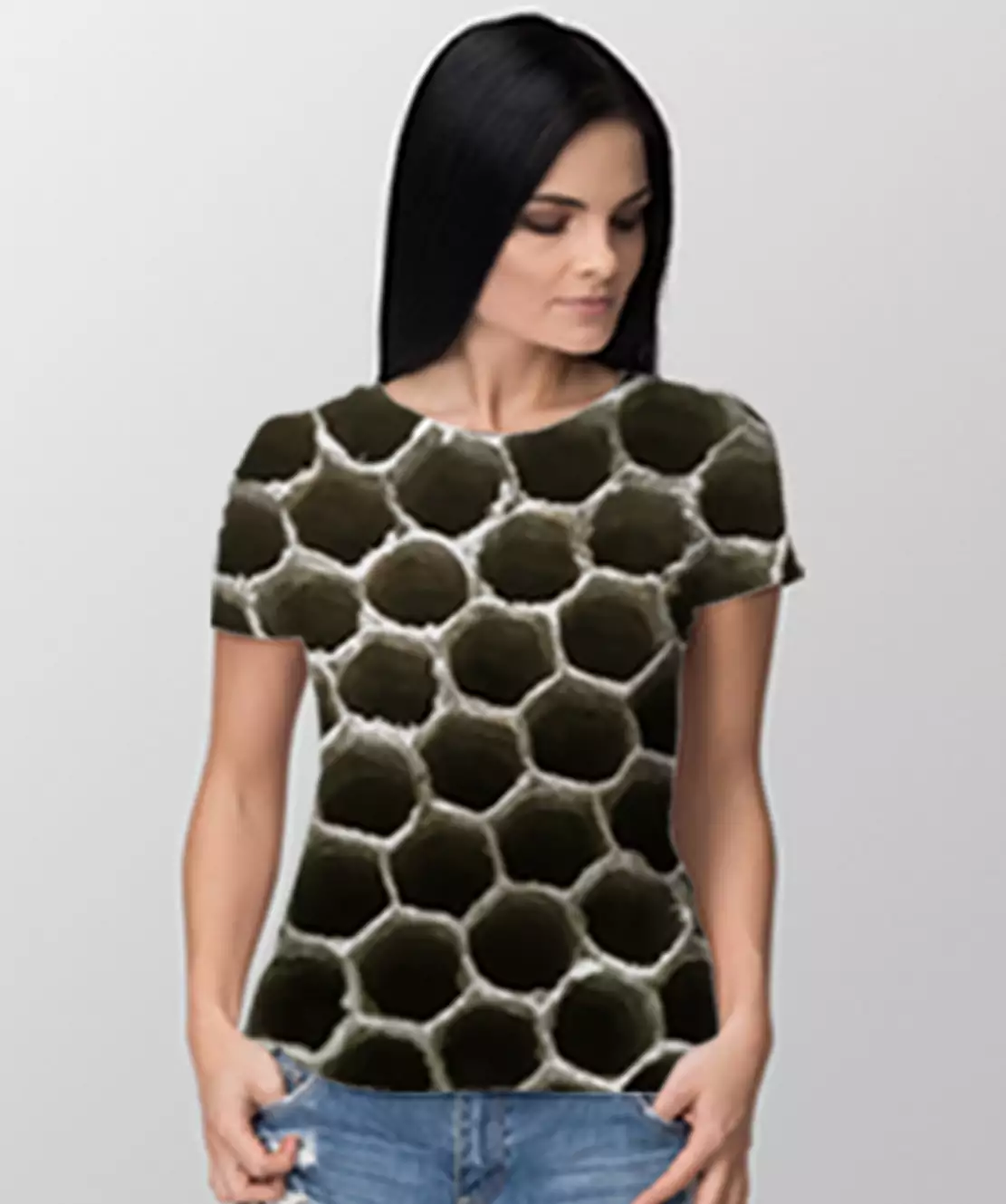 Women Round Neck Half Printed 3D Holes T-Shirt