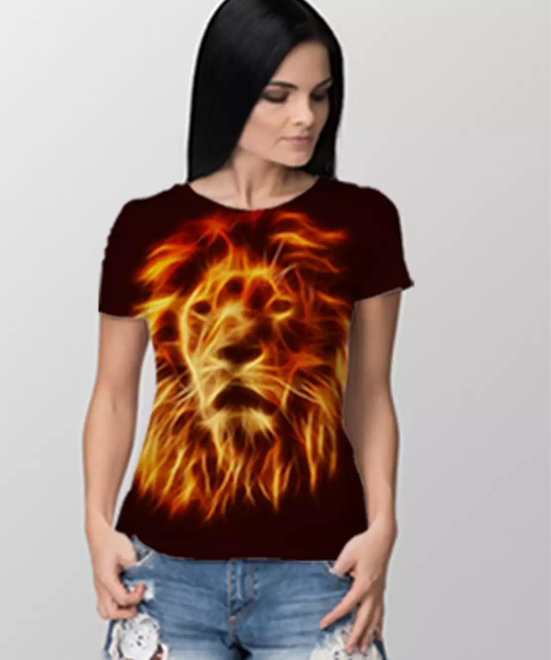 Women Round Neck Half Printed 3D Lion T-Shirt