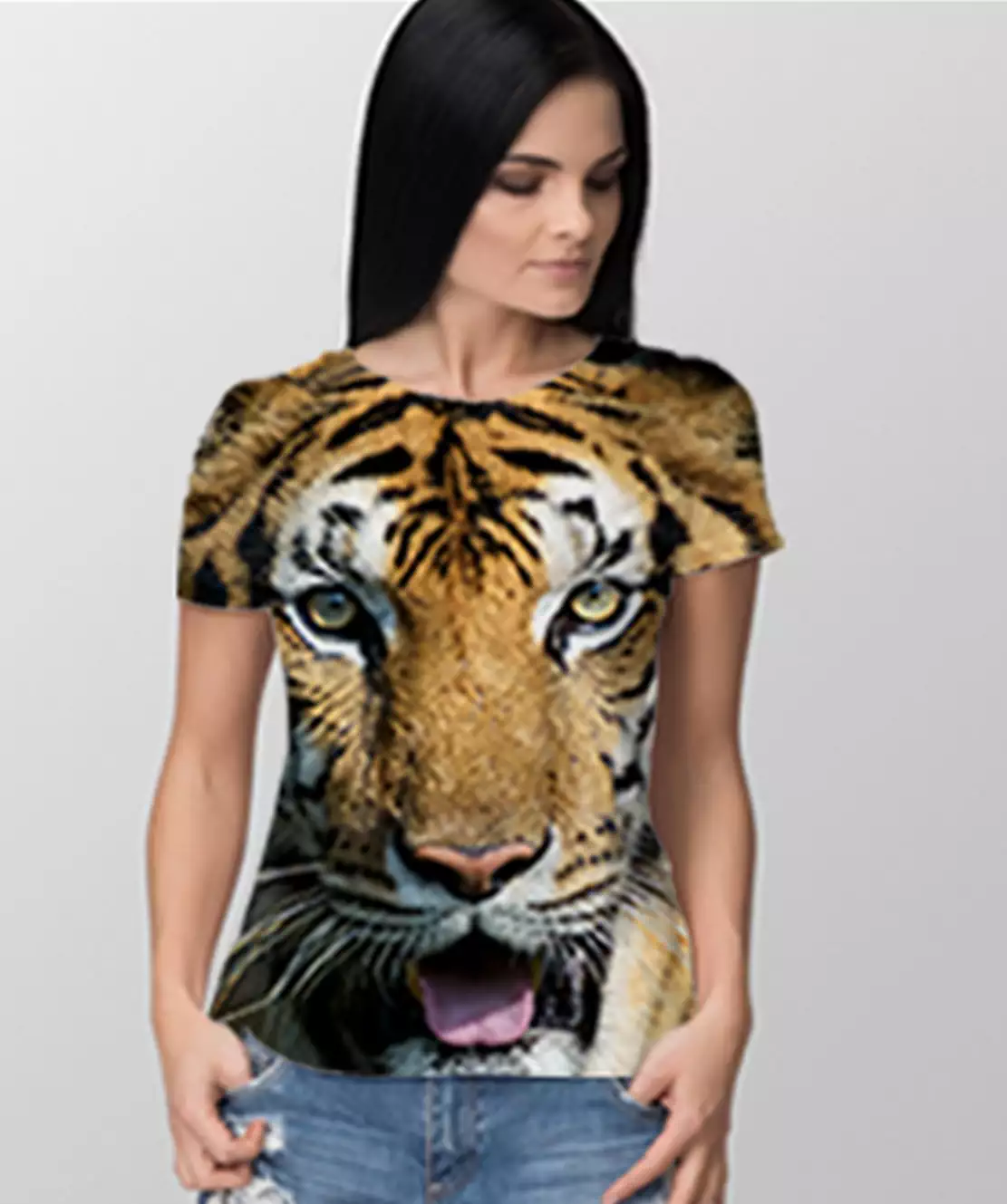 Women Round Neck Half Printed 3D Tiger T-Shirt