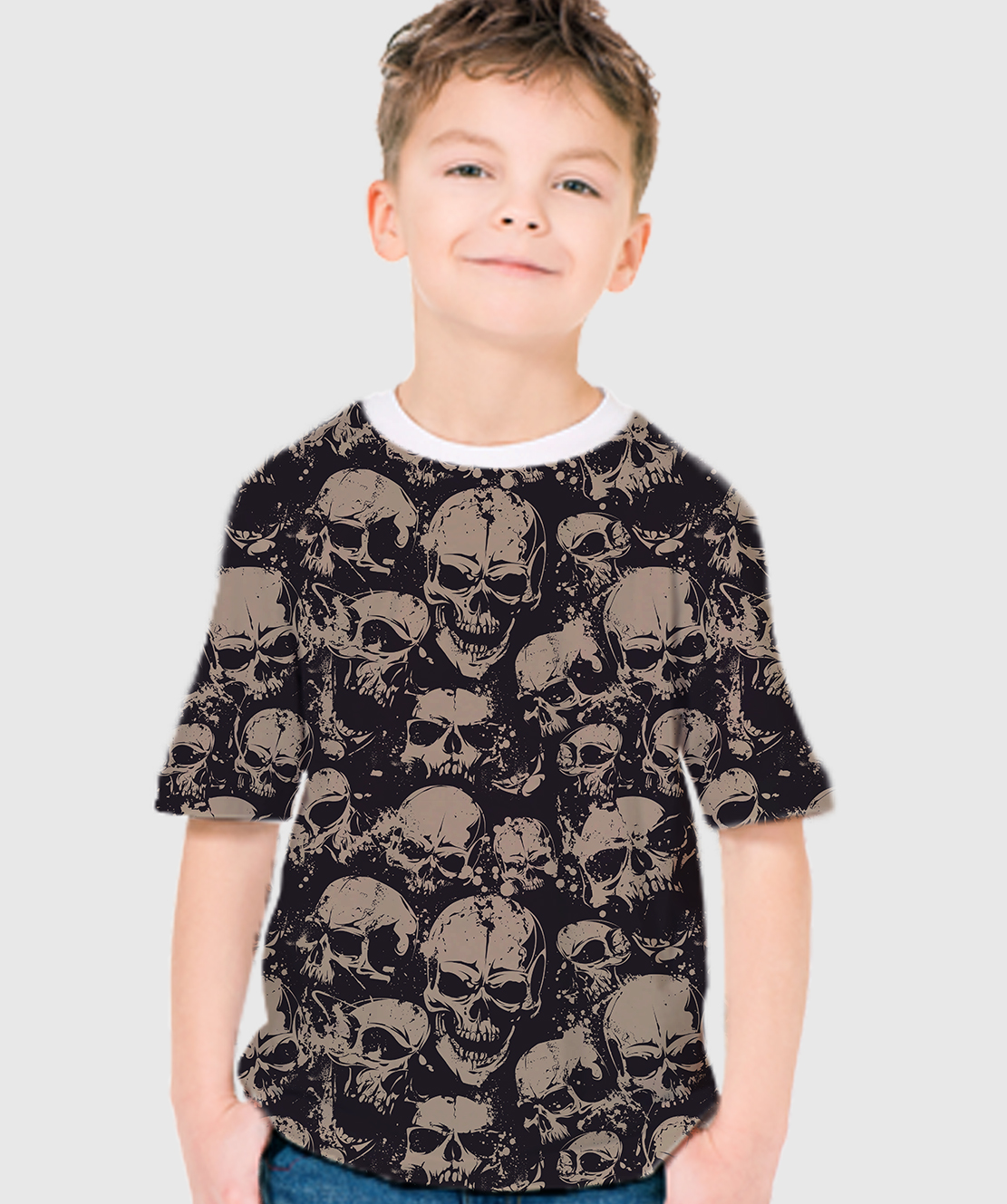 Boys Round Neck Half Sleeves Printed 3D T-Shirt