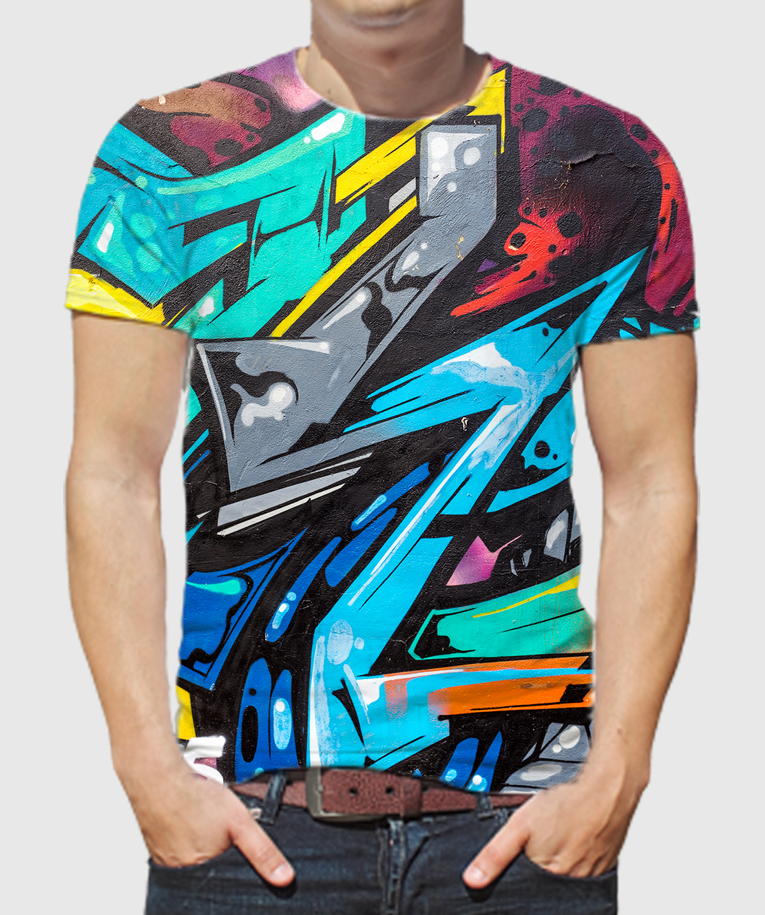 Men Round Neck Half Sleeves Printed 3D T-Shirt