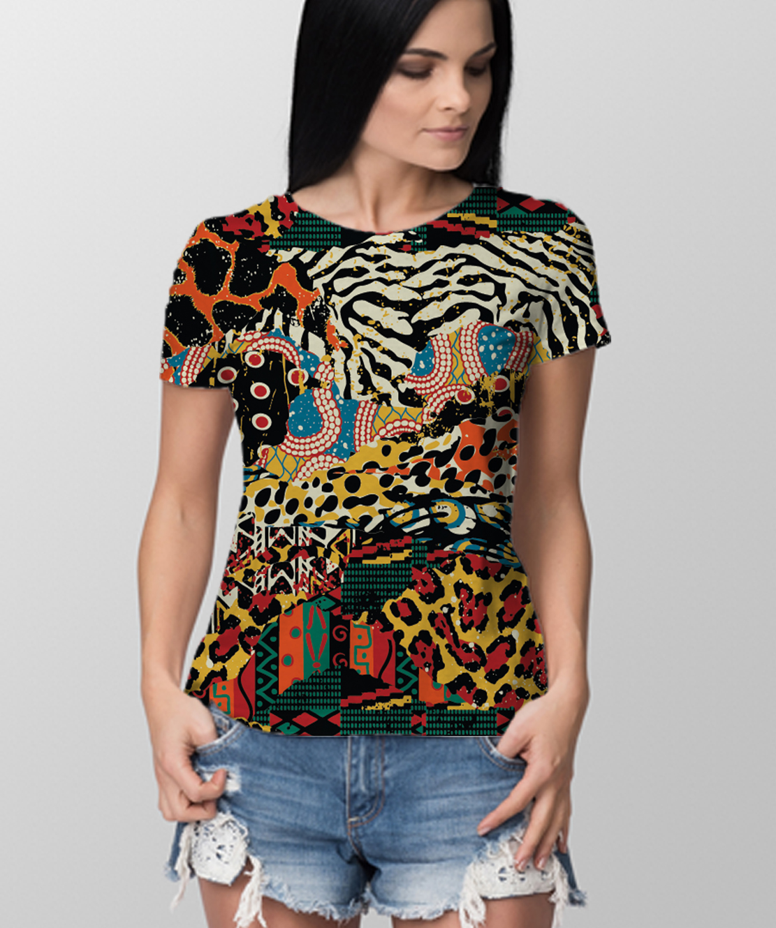 Women Round Neck Half Sleeves Printed 3D T-Shirt
