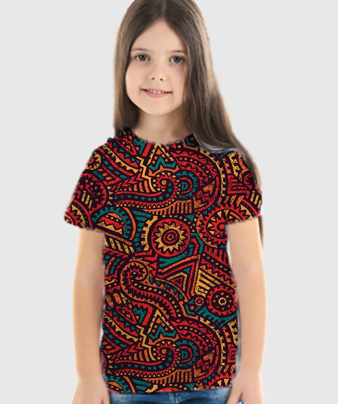 Girls Round Neck Half Sleeves Printed 3D T-Shirt
