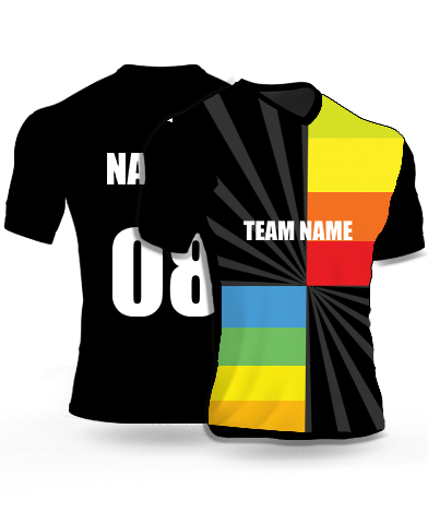 Dark Rainbow - Cricket Jersey or Sports T shirt with your name and number(19)