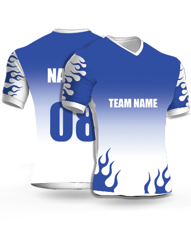 Fire Blues - Cricket Jersey or Sports T shirt with your name and number(22)