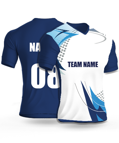Floating Waves - Cricket Jersey or Sports T shirt with your name and number(99)