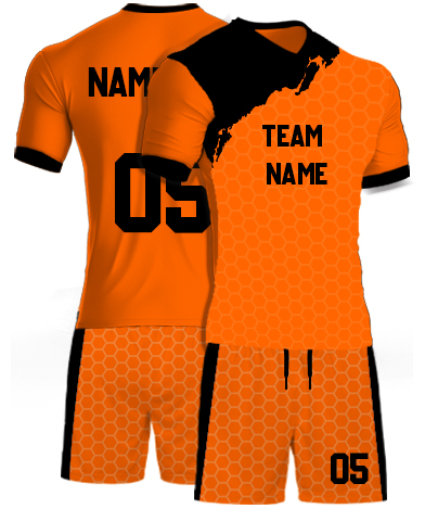 kabaddi Kit Jersey or Sports T shirt with your name and number(geometric_orange)