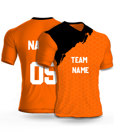 kabaddi Jersey or Sports T shirt with your name and number(geometric_orange)