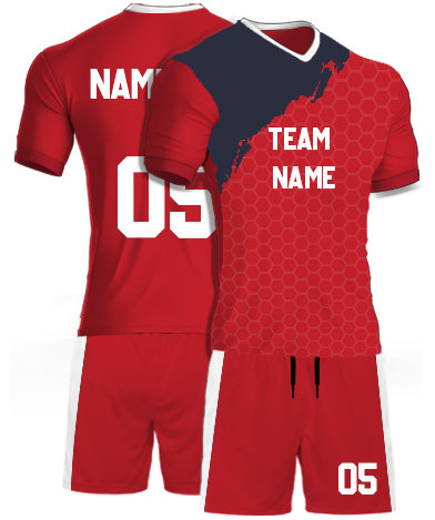 kabaddi Kit Jersey or Sports T shirt with your name and number(geometric_red)