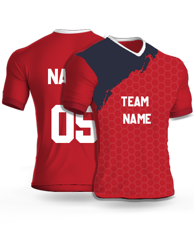 kabaddi Jersey or Sports T shirt with your name and number(geometric_red)
