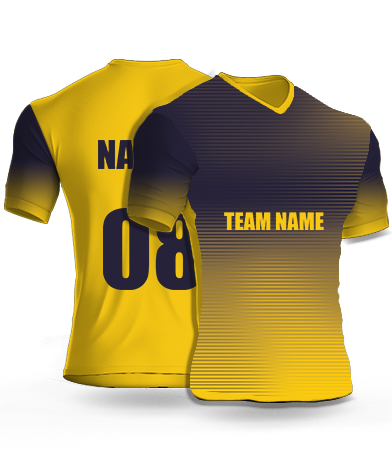 Half Yellow - Cricket Jersey or Sports T shirt with your name and number(72)