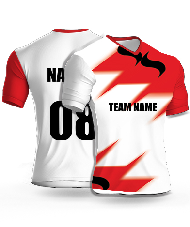 Protecting Red - Cricket Jersey or Sports T shirt with your name and number(87)