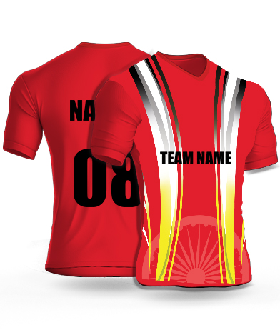 Red Emblem - Cricket Jersey or Sports T shirt with your name and number(88)