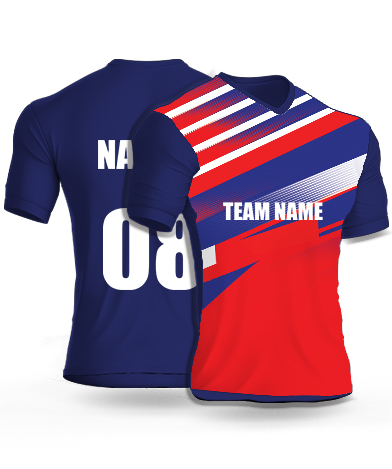 Redish Lines - Cricket Jersey or Sports T shirt with your name and number(8)