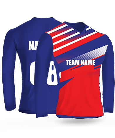 Redish Lines Full Sleeves - Cricket Jersey or Sports T shirt with your name and number(8)