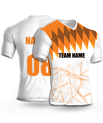 White Coordinators - Cricket Jersey or Sports T shirt with your name and number(63)