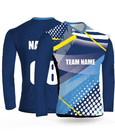 White Dots Full Sleeves - Cricket Jersey or Sports T shirt with your name and number(10)