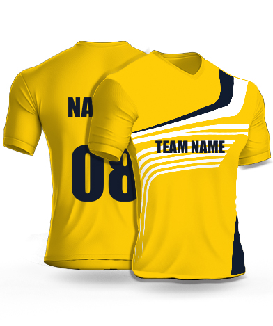 Yellow Strip - Cricket Jersey or Sports T shirt with your name and number(11)